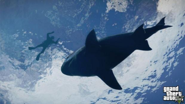 Uma das fotos divulgadas pela Rockstar mostra um homem com roupa de mergulho ao lado de um tubarão (Foto: Divulgação)