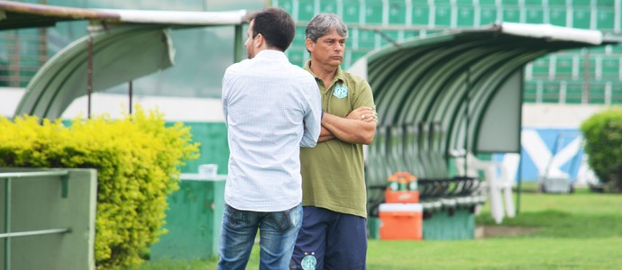 Marcelo Veiga e Lucas Andrino em treino do Guarani (Foto: Murilo Borges)