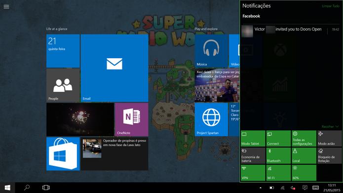 Modo Continuum [tablet] do Windows 10 pode ser ativado através da Central de Notificações (Foto: Reprodução/Elson de Souza) (Foto: Modo Continuum [tablet] do Windows 10 pode ser ativado através da Central de Notificações (Foto: Reprodução/Elson de Souza))