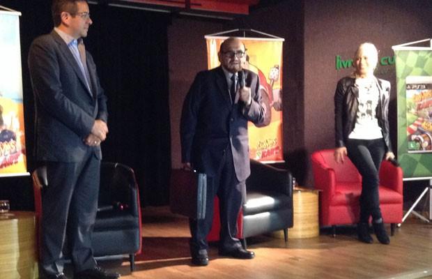 O ator Edgar Vivar, o 'Senhor Barriga' do seriado 'Chaves', esteve em São Paulo para lançar o jogo 'El Chavo Kart' (Foto: Gustavo Petró/G1)