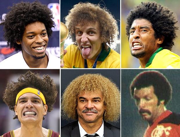montagem cabelos Lucas Bebê, David Luiz, Dante, Varejão, Valderrama e Junior Capacete (Foto: Editoria de Arte)