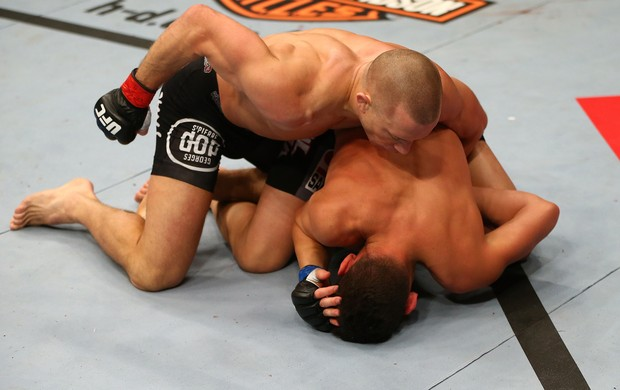 UFC 158 Georges St-Pierre e Nick Diaz (Foto: Agência Getty Images)