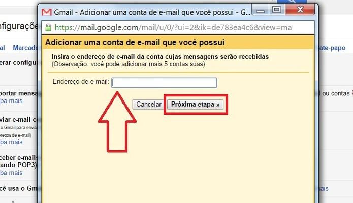"""Adicione seu e-mail e clique em """"Próxima etapa""""  (Foto: Reprodução/Juliana Pixinine)"""