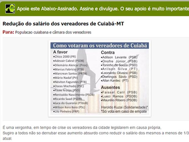 Abaixo-assinado propõe reduçção dos salários dos vereadores de Cuiabá (Foto: Reprodução)