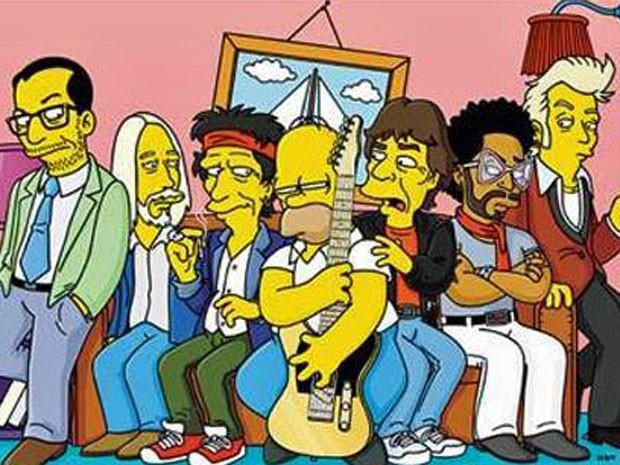 Elvis Costello, Tom petty, Keith Richards, Mick Jagger, Lenny Kravitz e Brian Setzer durante participação em 'Os Simpsons' (Foto: Divulgação)