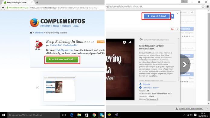 Usuário pode adicionar extensão que protege Papai Noel a Chrome e Firefox (Foto: Reprodução/Elson de Souza)
