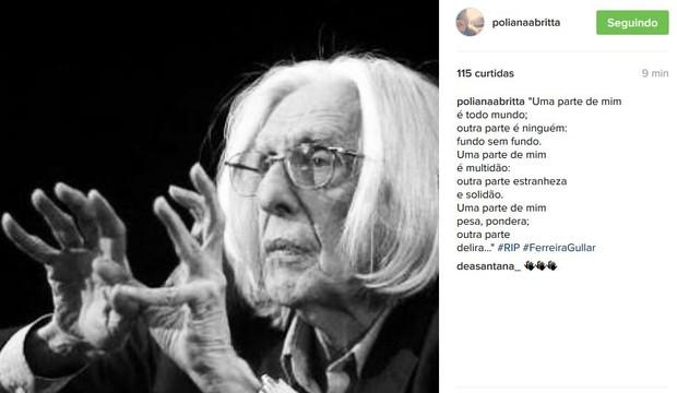 Poliana Britta sobre morte de Ferreira Gullar (Foto: Instagram / Reprodução)