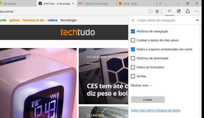 Opção de limpeza no Microsoft Edge (Foto: Reprodução/André Sugai)