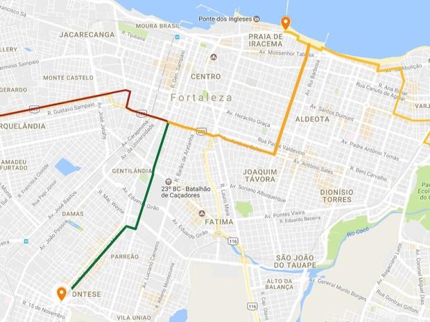 Ciclofaixa de Lazer, em Fortaleza, terá novas rotas neste domingo (Foto: Reprodução/SCSP)