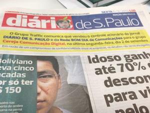 Comunicado está na capa do 'Diário de S. Paulo' (Foto: G1)