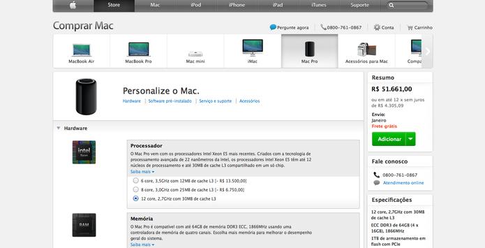 Upgrades de fábrica podem deixar o computador com preço de carro zero KM (Foto: Reprodução/Apple Store)