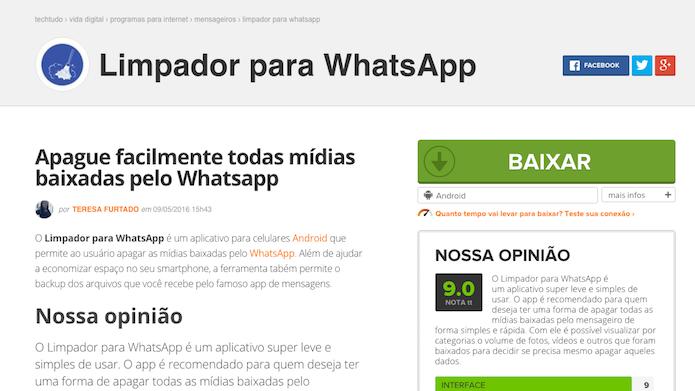 Página de download do Limpador de WhatsApp no TechTudo (Foto: Reprodução/Marvin Costa)