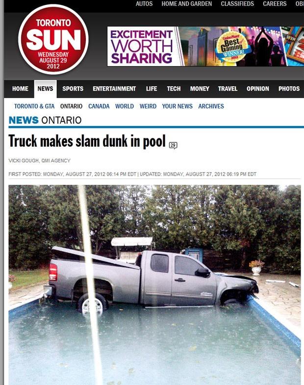 motorista de 51 anos parou sua picape dentro de uma piscina no Canadá. (Foto: Reprodução)