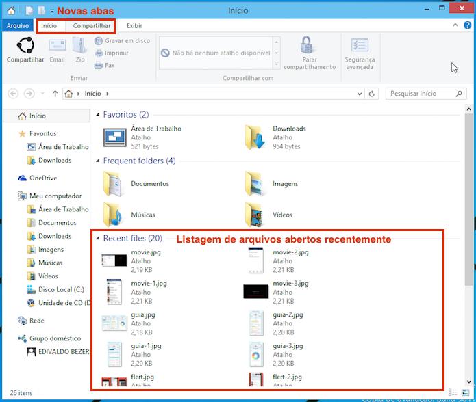 Mudanças feitas no Explorer facilitam o acesso a arquivos (Foto: Reprodução/Edivaldo Brito)