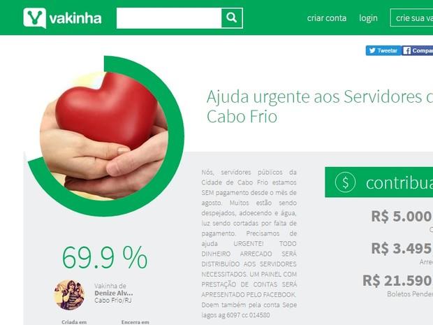 'Vaquinha' online é feita para ajudar servidores de Cabo Frio sem salários (Foto: Reprodução)