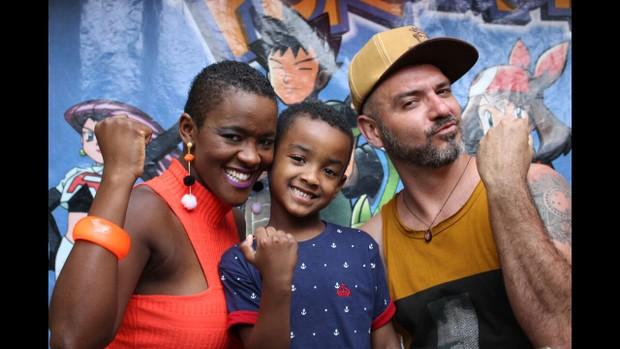 Angélica Ramos com o filho Vinícius e o ex-BBB Vagner Lara (Foto: Arquivo pessoal )