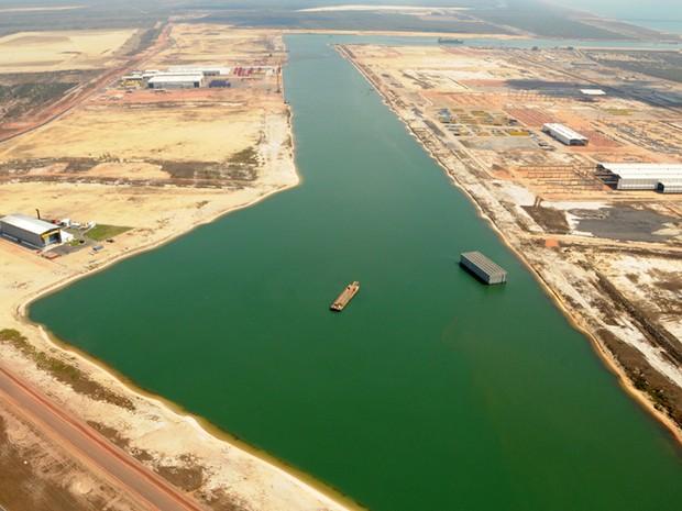 Construção do Porto do Açu em São João da Barra (Foto: Divulgação/ Prumo)