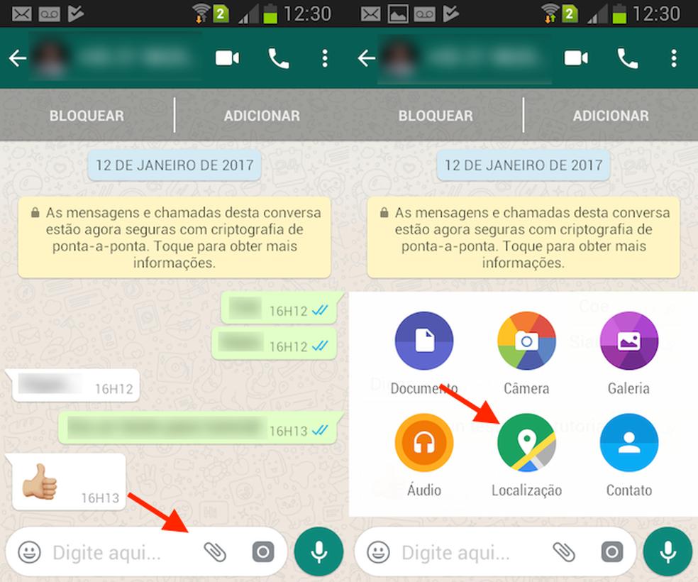 Ação para iniciar a ferramenta de compartilhamento de localização no WhatsApp para Android (Foto: Reprodução/Marvin Costa)
