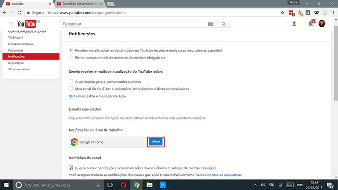 YouTube tem função de notificações na área de trabalho para o Google Chrome (Foto: Reprodução/Elson de Souza)
