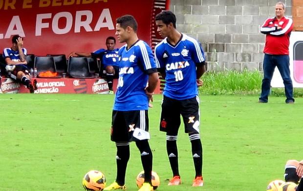 João Paulo e Gabriel treino Flamengo (Foto: Richard Souza)