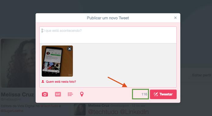 Upload de mídias também não terá URL contabilizada nos 140 caracteres do Twitter (Foto: Reprodução/Melissa Cruz)