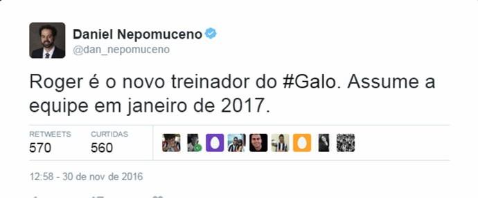 Daniel Nepomuceno confirma Roger como técnico do Atlético-MG via Twitter (Foto: Reprodução/Twitter)