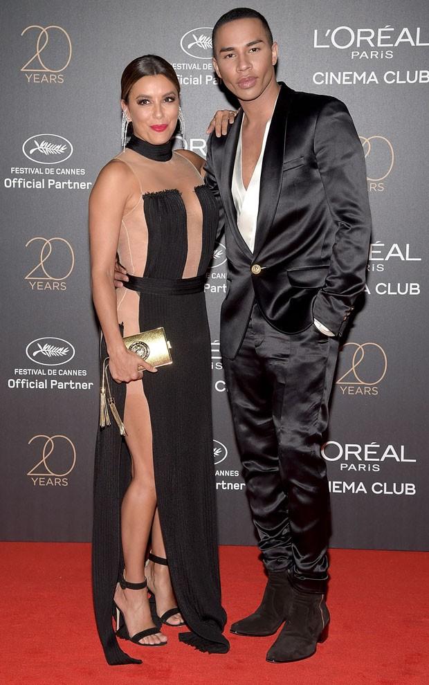 Eva Longoria e o estilista Olivier Rousteing  (Foto: Getty Images)