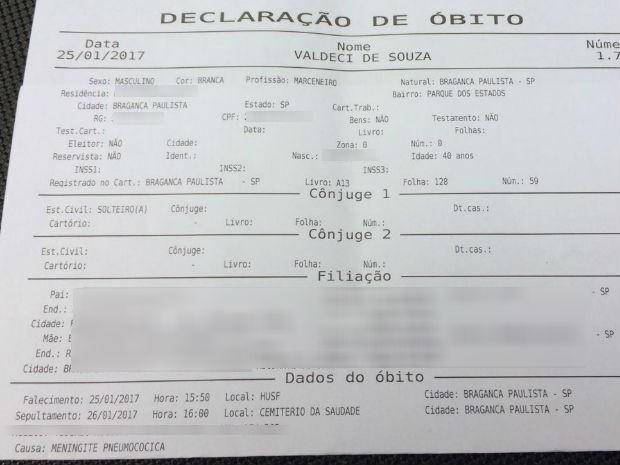Atestado de óbito comprova causa da morte do marceneiro. (Foto: Arquivo Pessoal/Valéria de Souza)