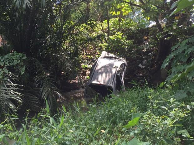 Motorista diz que caminhão bateu na traseira do carro, que perdeu o controle e caiu no rio (Foto: Walter Paparazzo/G1)