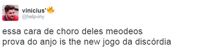 Internauta comenta Prova do Anjo Triturador BBB (Foto: Reprodução da Internet / Twitter @helpviny)