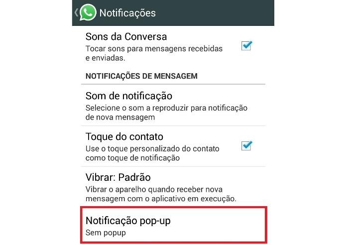 Configurações de Notificações pop-up do WhatsApp (Foto: Reprodução/Lívia Dâmaso)
