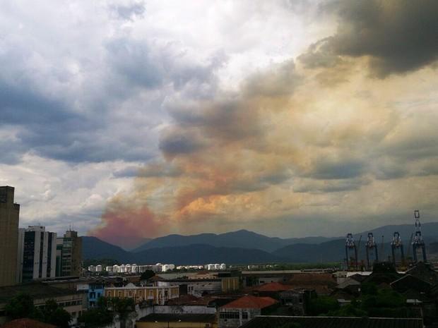 Incêndio pode ser visto de Santos, SP (Foto: Orion Pires/G1)