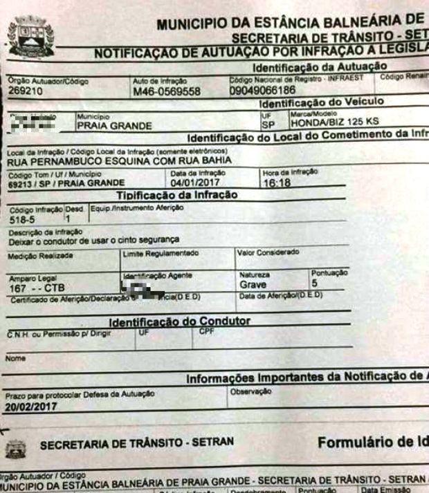 Multa indica infração de cinto de segurança para moto (Foto: Reprodução)