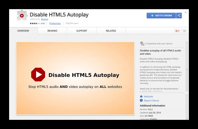 Extensão Disable HTML5 Autoplay bloqueia os vídeos do Facebook (Foto: Divulgação/Chrome Web Store)