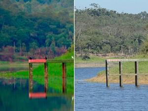 Comparação mostra queda no nível do Rio Jundiaí (Foto: Reprodução/ TV Diário e Maiara Barbosa/G1)