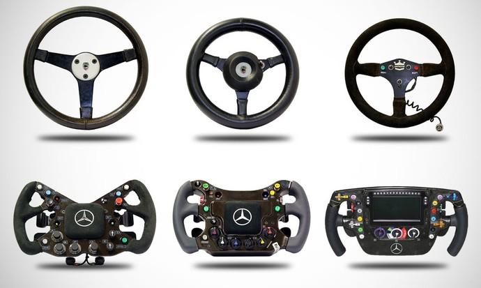 Volantes da Fórmula 1 ao longo do tempo (Foto: Divulgação)