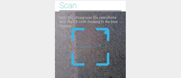 Scanner de código QR aberto no celular antigo (Foto: Reprodução/Raquel)