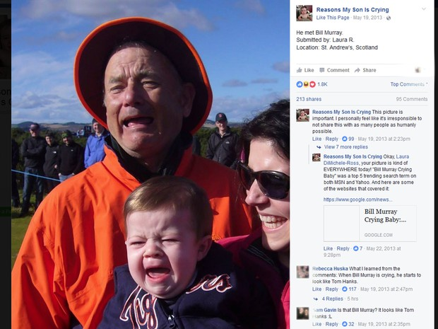 Bill Murray aparece com criança em foto no perfil do Facebook Reasons My Son Is Crying (Foto: Reprodução/Reasons My Son Is Crying)