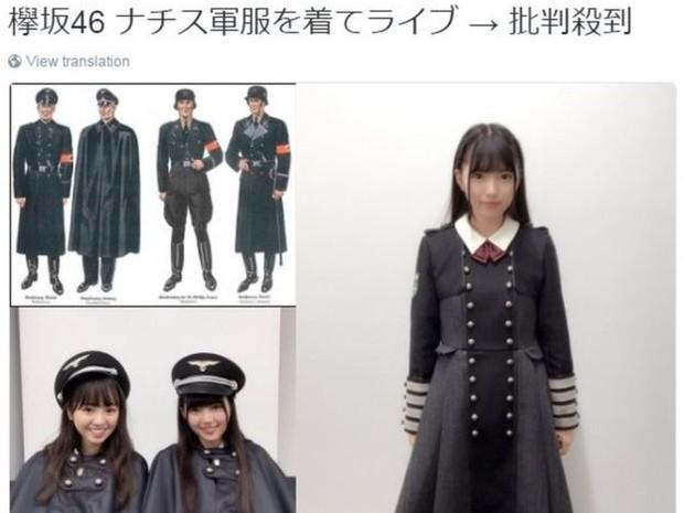 """O usuário do Twitter @tmato30kcal escreveu: """"Uniforme militar nazista no show da Keiyakizaka46: uma onda de críticas"""" (Foto: @tmato30kcal)"""