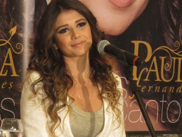 Paula Fernandes participa de entrevista coletiva em São Paulo (Foto: Braulio Lorentz/G1)