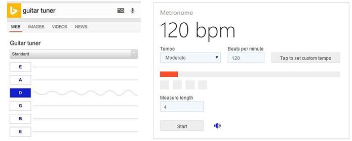 Ferramentas do Bing permitem afinar instrumentos e usar o metrônomo (Foto: Divulgação/Bing)
