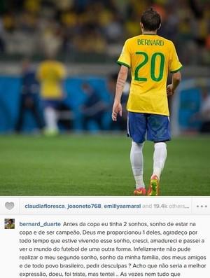 Bernard escreve longa mensagem reflexiva sobre Copa (Foto: Reprodução/Instagram)