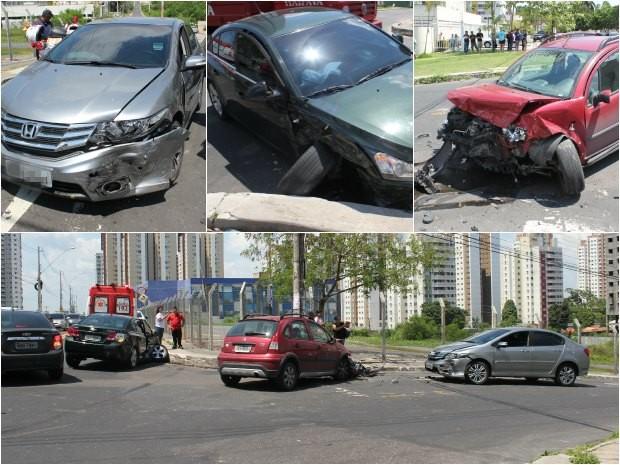 Acidente envolveu três carros de passeio (Foto: Diego Toledano/G1AM)