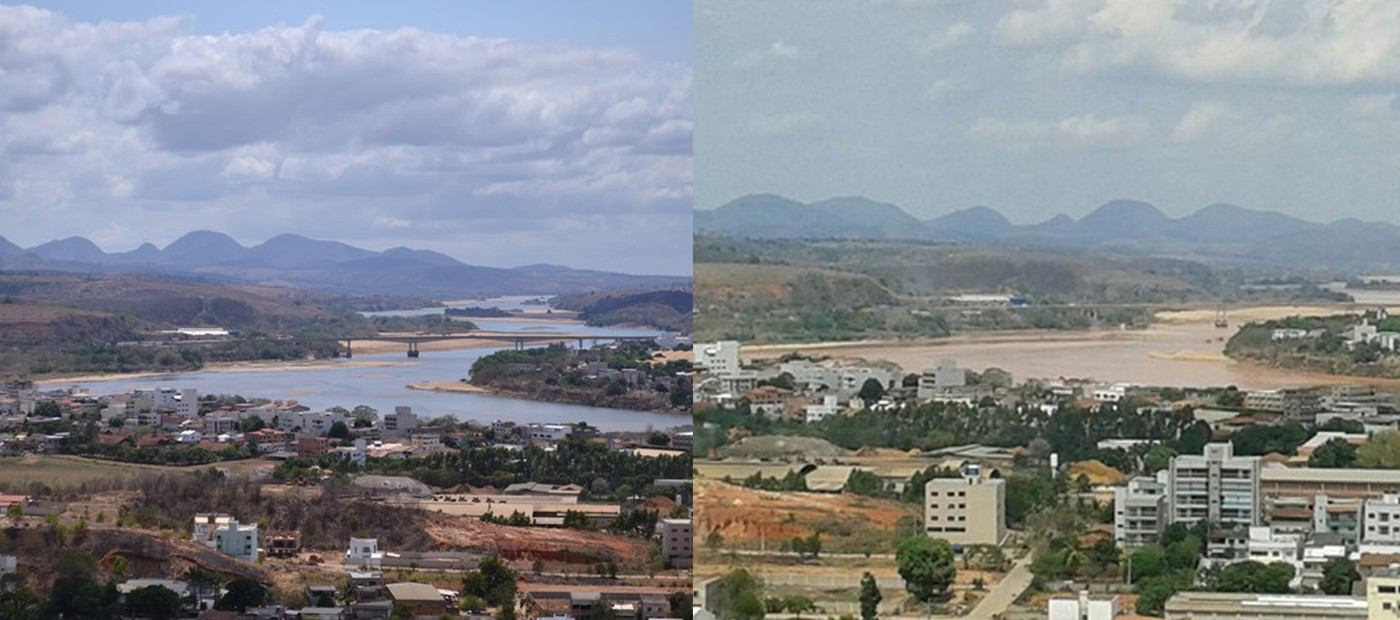 Antes e depois do Rio Doce em Colatina, no Noroeste do Espírito Santo (Foto: Viviane Machado e Vando Fagundes/ Arte G1)