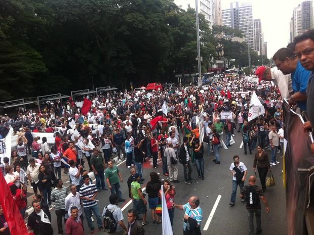 Manifestantes fecharam Avenida Paulista (Foto: Julia Basso Viana/G1)
