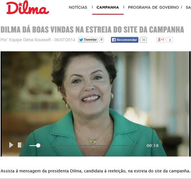 Site da campanha de Dilma Rousseff à reeleição exibe vídeo gravado pela presidente (Foto: Reprodução)
