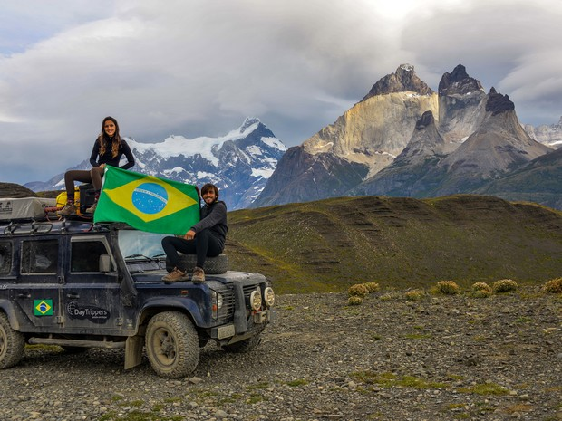O casal passou pelas Torres del Paine, no Chile (Foto: Rafael Ávila/VC no G1)
