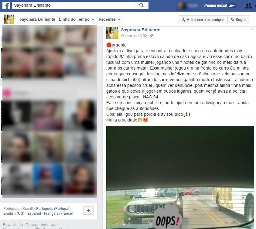 Sayonara postou desbafo na sua página no Facebook (Foto: Reprodução/Facebook)