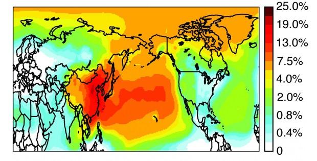 Carbono negro emitido na China se espalha pelo Oceano Pacífico. Na figura, quanto mais vermelho, maior a participação da poluição chinesa no ar local (Foto: Universidade da California)