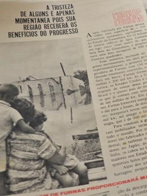 Revista Manchete de 1963 mostra Guapé sendo alagada para construção de Furnas (Foto: Samantha Silva / G1)